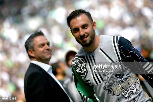 Josip Drmic of Moenchengladbach looks on prior to the Bundesliga match between Borussia Moenchengladbach and FC Augsburg at BorussiaPark on May 6...