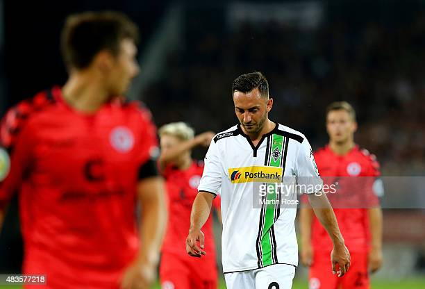 Josip Drmic of Moenchengladbach reacts during the DFB Cup First Round match between FC StPauli and Borussia Moenchengladbach at Millerntor Stadium on...