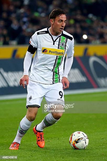 Josip Drmic of Moenchengladbach runs with the ball during the Bundesliga match between Borussia Moenchengladbach and Hannover 96 at BorussiaPark on...