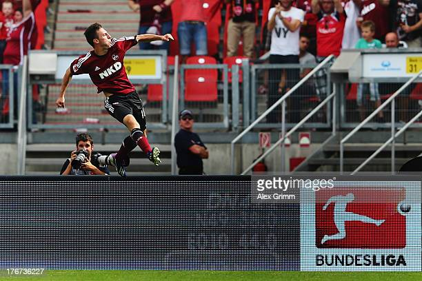 Josip Drmic of Nuernberg celebrates his team's first goal during the Bundesliga match between 1 FC Nuernberg and Hertha BSC Berlin at Grundig Stadium...