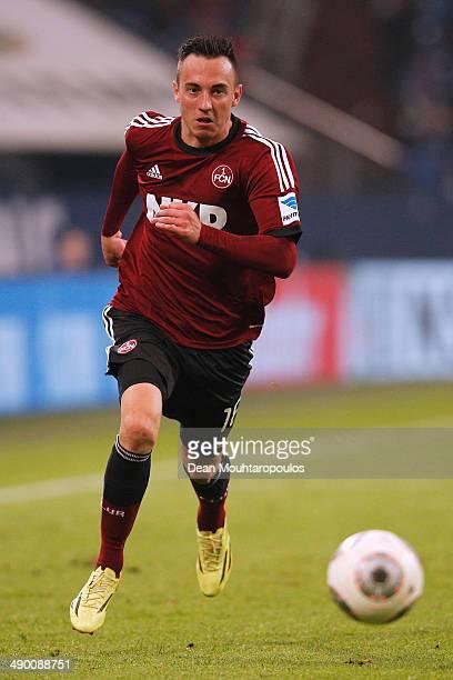 Josip Drmic of Nuernberg in action during the Bundesliga match between FC Schalke 04 and 1 FC Nuernberg held at VeltinsArena on May 10 2014 in...