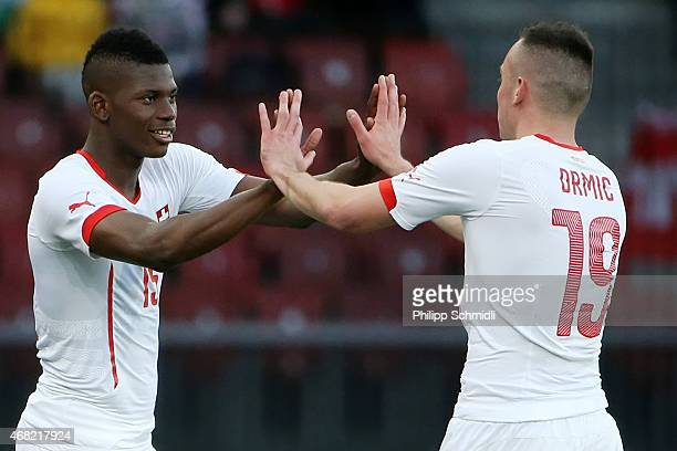 Josip Drmic of Switzerland is replaced by Breel Embolo during the international friendly match between Switzerland and the United States at Stadium...