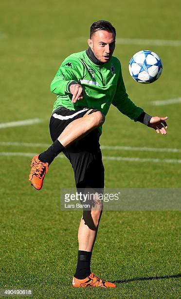 Josip Drmic plays with the ball during a Borussia Moenchengladbach training session on the eve of the UEFA Champions League groupe D match against...