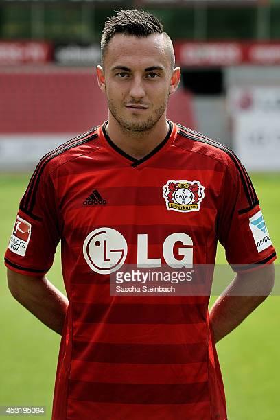 Josip Drmic poses during Bayer Leverkusen team presentation at BayArena on August 4 2014 in Leverkusen Germany
