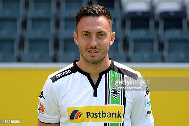Josip Drmic poses during the team presentation of Borussia Moenchengladbach at BorussiaPark on July 10 2015 in Moenchengladbach Germany