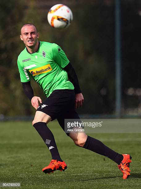 Josip Drmic shoots the ball during a Borussia Moenchengladbach training session on day 5 of the Bundesliga Belek training camps at Maxx Royal Golf...