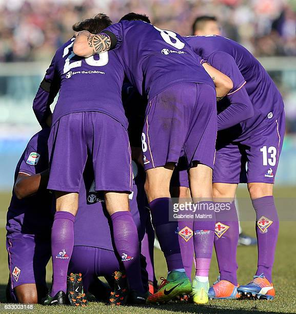 Josip Ilicic of ACF Fiorentina celebrates after scoring a goal during the Serie A match between ACF Fiorentina and Genoa CFC at Stadio Artemio...