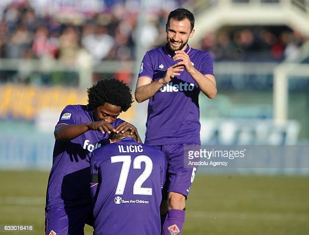 Josip Ilicic of Acf Fiorentina celebrates after scoring a goal during Italian Serie A soccer match between ACF Fiorentina and Genoa FC at Stadio...