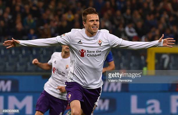 Josip Ilicic of ACF Fiorentina celebrates after scoring the opening goal from the penalty spot during the Serie A match between UC Sampdoria and ACF...