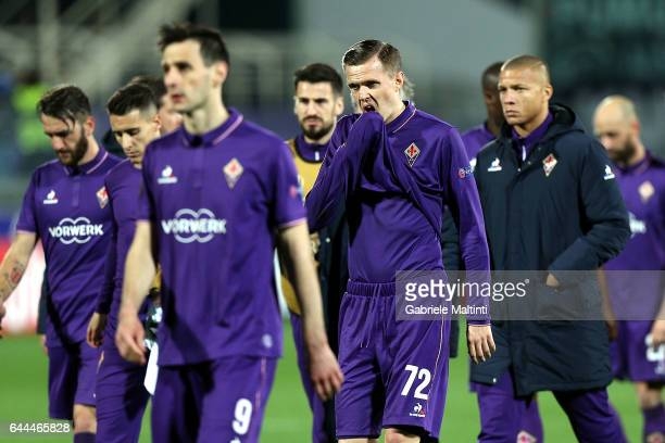 Josip Ilicic of ACF Fiorentina shows his dejection during the UEFA Europa League Round of 32 second leg match between ACF Fiorentina and Borussia...