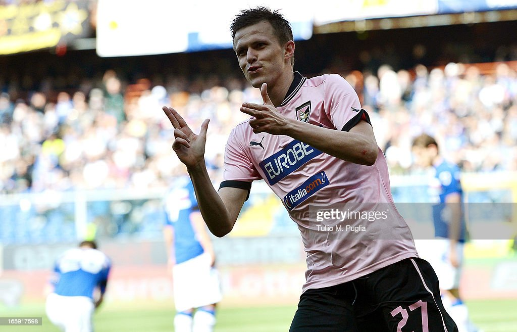 <a gi-track='captionPersonalityLinkClicked' href=/galleries/search?phrase=Josip+Ilicic&family=editorial&specificpeople=7151628 ng-click='$event.stopPropagation()'>Josip Ilicic</a> of Palermo celebrates after scoring his team's second goal during the Serie A match between UC Sampdoria and US Citta di Palermo at Stadio Luigi Ferraris on April 7, 2013 in Genoa, Italy.