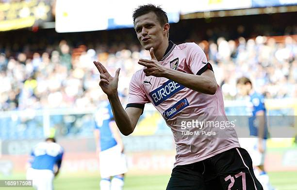 Josip Ilicic of Palermo celebrates after scoring his team's second goal during the Serie A match between UC Sampdoria and US Citta di Palermo at...