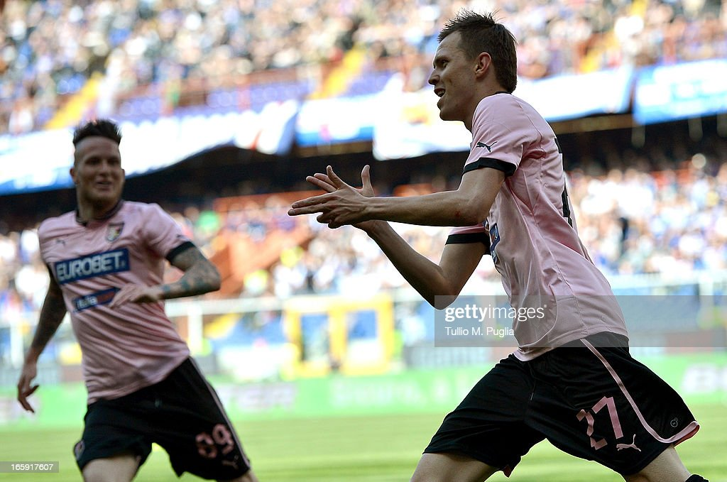<a gi-track='captionPersonalityLinkClicked' href=/galleries/search?phrase=Josip+Ilicic&family=editorial&specificpeople=7151628 ng-click='$event.stopPropagation()'>Josip Ilicic</a> (R) of Palermo celebrates after scoring his team's second goal during the Serie A match between UC Sampdoria and US Citta di Palermo at Stadio Luigi Ferraris on April 7, 2013 in Genoa, Italy.