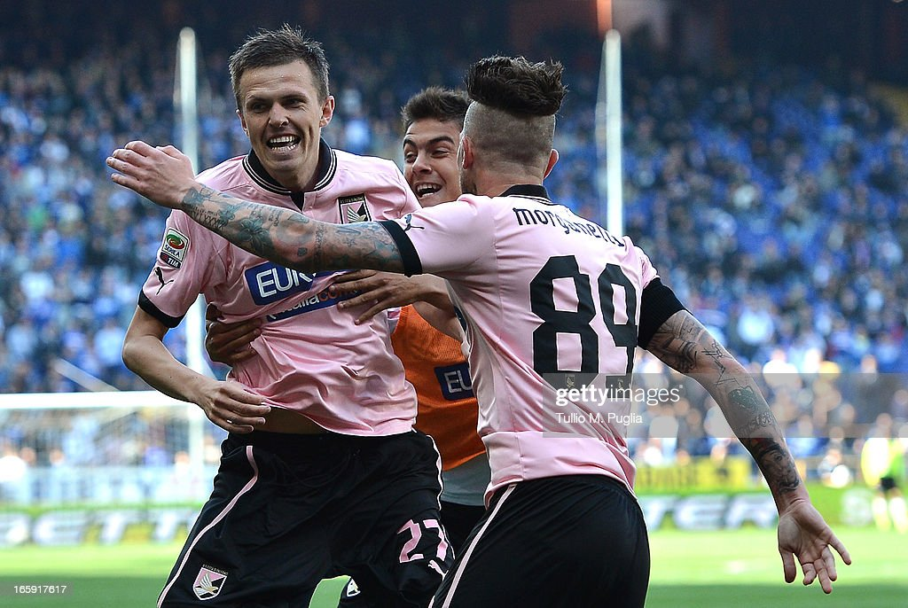 Josip Ilicic (L) of Palermo celebrates after scoring his team's second goal during the Serie A match between UC Sampdoria and US Citta di Palermo at Stadio Luigi Ferraris on April 7, 2013 in Genoa, Italy.