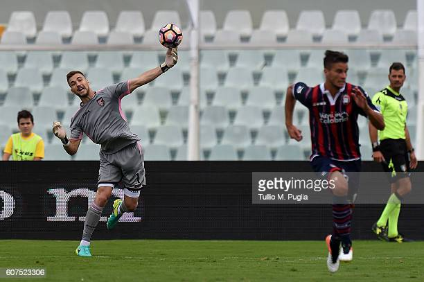 Josip Posavec goalkeeper of Palermo in action during the Serie A match between FC Crotone and US Citta di Palermo at Adriatico Stadium on September...