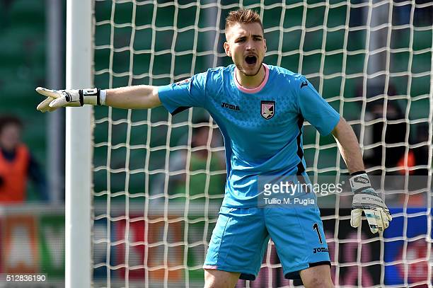 Josip Posavec goalkeeper of Palermo in action during the Serie A match between US Citta di Palermo and Bologna FC at Stadio Renzo Barbera on February...