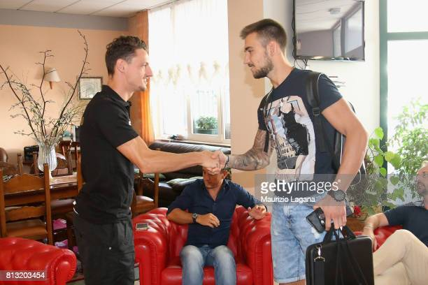 Josip Posavec of Palermo salutes Gabriele Rolando on July 12 2017 in Gradisca d'Isonzo Italy