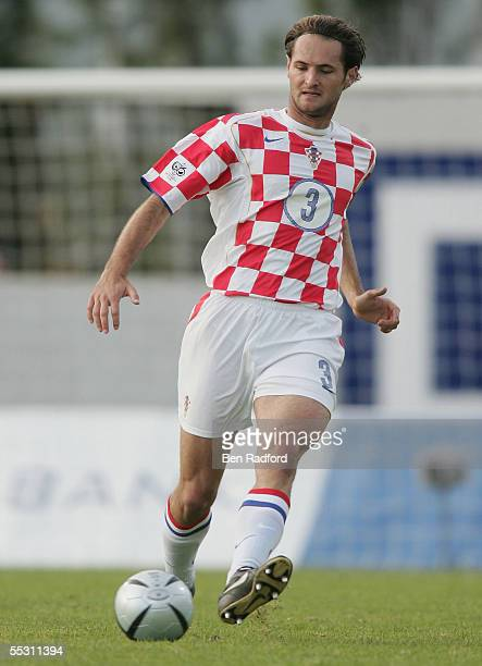 Josip Simunic of Croatia in action during the 2006 World Cup qualifying match between Iceland and Croatia at Laugardalsvollur Stadium on September 3...