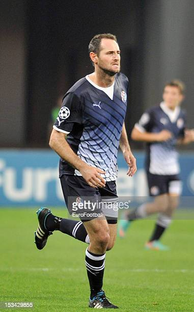 Josip Simunic of GNK Dinamo Zagreb in action during the UEFA Champions League group stage match between FC Dynamo Kyiv and GNK Dinamo Zagreb at the...
