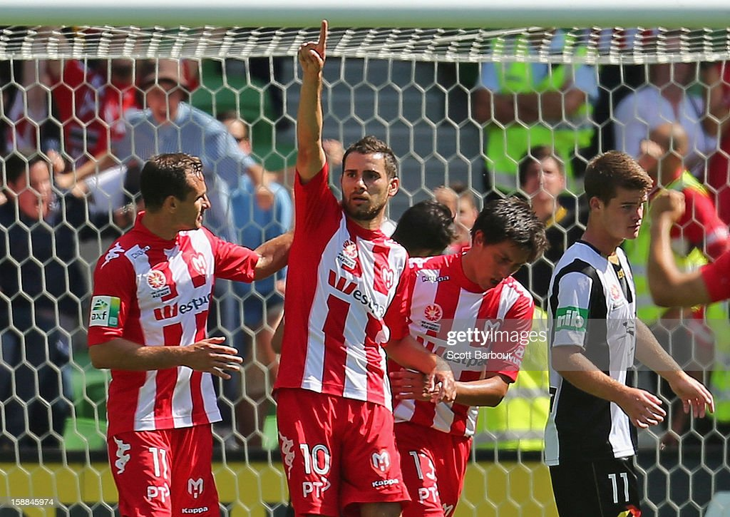 Josip Tadic of the Heart celebrates after scoring the Hearts second goal during the round 14 A-League match between Melbourne Heart and the Newcastle Jets at AAMI Park on January 1, 2013 in Melbourne, Australia.