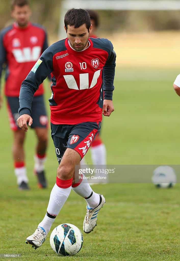 Josip Tadic of the Heart controls the ball during a Melbourne Heart A-League training session at La Trobe University Sports Fields on February 1, 2013 in Melbourne, Australia.