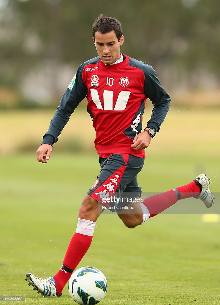 Josip Tadic of the Heart runs with the ball during a Melbourne Heart A-League training session at La Trobe University Sports Fields on January 22, 2013 in Melbourne, Australia.