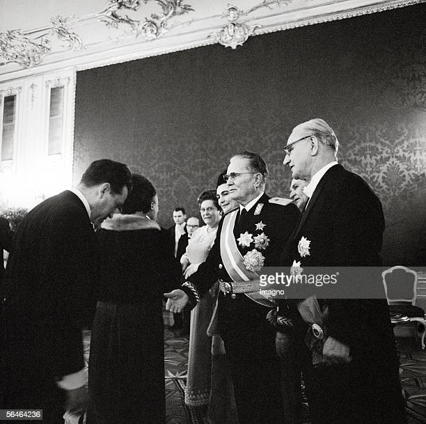 Josip Tito Yugoslavian President and Franz Jonas Austrian Federal President with their wives at reception on occasion of the state visit Photography...
