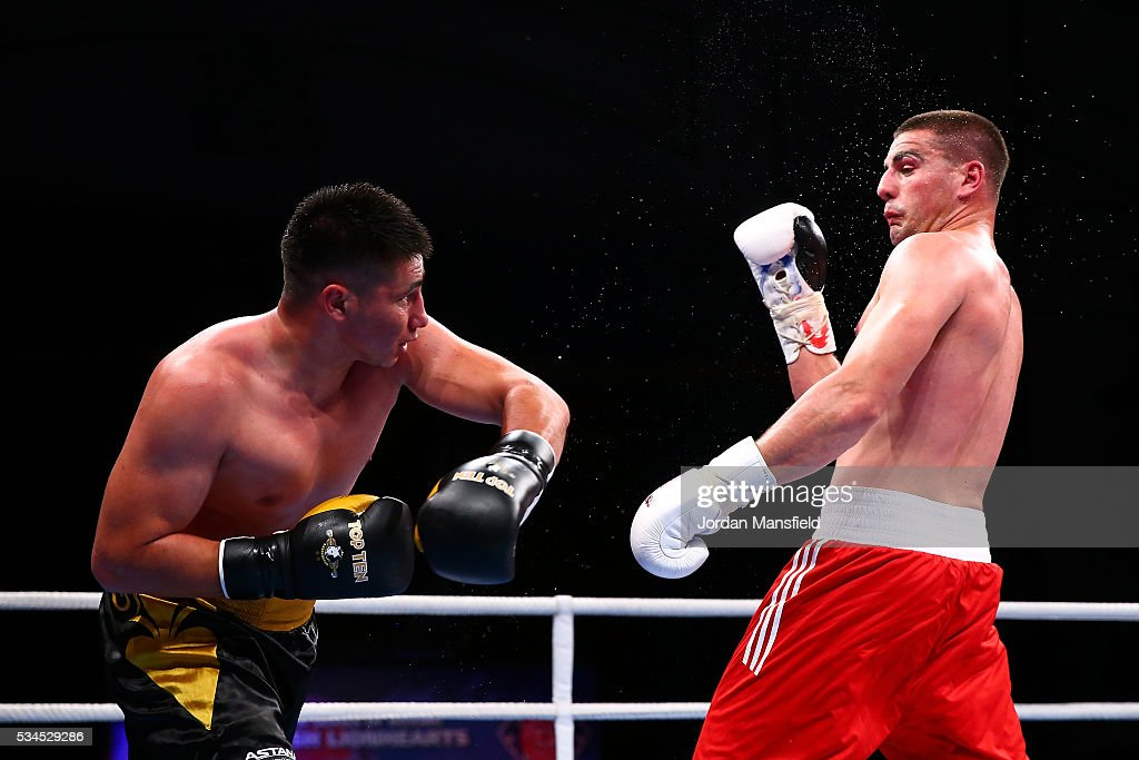 Josip-Bepo Filipi of British Lionhearts (R) in action against Yerkin Mukametzhan of Astana Arlans (L) in the semi-final of the World Series of Boxing between the British Lionhearts and Kazakhstan at York Hall on May 26, 2016 in London, England.