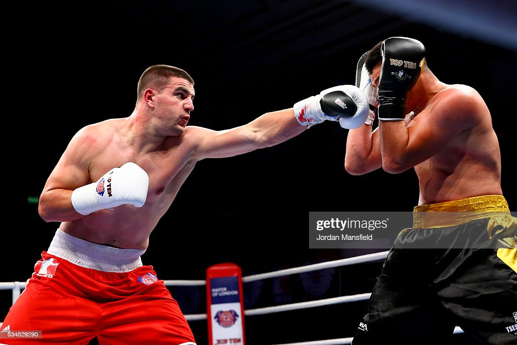 Josip-Bepo Filipi of British Lionhearts (L) in action against Yerkin Mukametzhan of Astana Arlans (R) in the semi-final of the World Series of Boxing between the British Lionhearts and Kazakhstan at York Hall on May 26, 2016 in London, England.