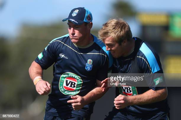 Josj Jackson and Jake Trbojevic during a New South Wales Blues State of Origin training session at Cudgen Leagues Club on May 25 2017 in Kingscliff...