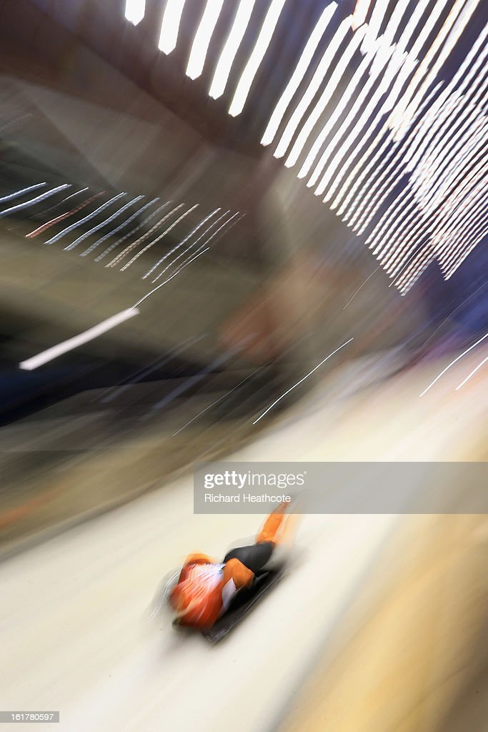 Joska Le Conte of The Netherlands launches herself down the track during the Women's Skeleton Viessman FIBT Bob & Skeleton World Cup at the Sanki Sliding Center in Krasnya Polyana on February 16, 2013 in Sochi, Russia. Sochi is preparing for the 2014 Winter Olympics with test events across the venues.