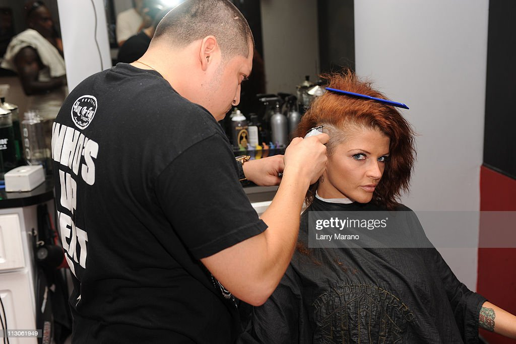 Joslyn James gets a new hair style at the Hall Of Fame barber shop on ...