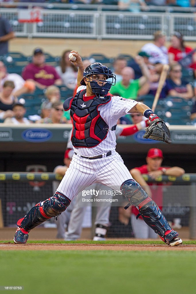 <a gi-track='captionPersonalityLinkClicked' href=/galleries/search?phrase=Josmil+Pinto&family=editorial&specificpeople=7968682 ng-click='$event.stopPropagation()'>Josmil Pinto</a> #43 of the Minnesota Twins throws against the Los Angeles Angels of Anaheim on August 9, 2013 at Target Field in Minneapolis, Minnesota. The Twins defeated the Angels 6-3.