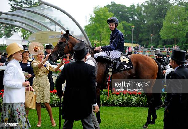 Jospeh O'Brien riding Declaration of War in the winners enclosure after winning the Queen Anne Stakes during day one of Royal Ascot at Ascot...