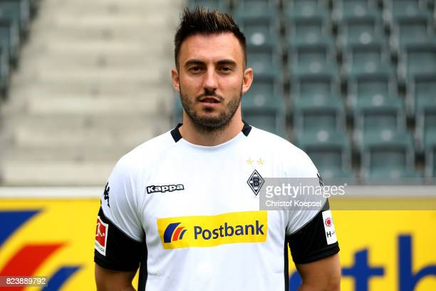 Jospi Drmic of Borussia Moenchengladbach poses during the team presentation at Borussia Park on July 28 2017 in Moenchengladbach Germany