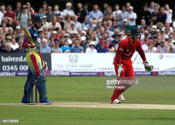 Joss Butler of Lancashire celebrates the wicket of Alex Blake of Kent during the NatWest T20 Blast quarter final match between Kent Spitfires and...