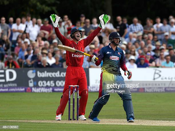 Joss Butler of Lancashire succesfully appeals for the wicket of Alex Blake of Kent during the NatWest T20 Blast quarter final match between Kent...