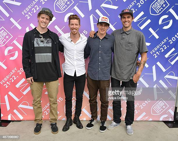Joss Christensen Shaun White Mark McMorris and Bobby Brown attend a press conference announcing that the first AirStyle snowboarding and pop culture...