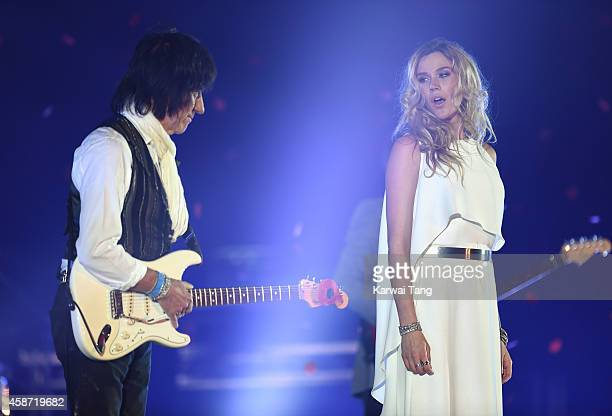 Joss Stone and Jeff Beck perform prior to the Dallas Cowboys versus Jacksonville Jaguars NFL match at Wembley Stadium on November 9 2014 in London...