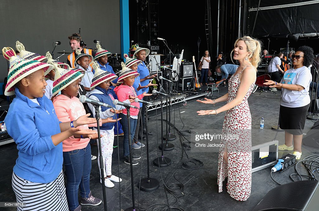 <a gi-track='captionPersonalityLinkClicked' href=/galleries/search?phrase=Joss+Stone&family=editorial&specificpeople=201922 ng-click='$event.stopPropagation()'>Joss Stone</a> is seen on stage with the Basotho Youth Choir during rehearsals for the Sentebale Concert at Kensington Palace on June 28, 2016 in London, England. Sentebale was founded by Prince Harry and Prince Seeiso of Lesotho over ten years ago. It helps the vulnerable and HIV positive children of Lesotho and Botswana.