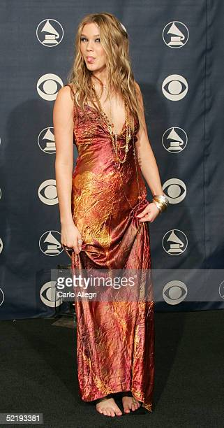 Joss Stone poses backstage during the 47th Annual Grammy Awards at the Staples Center February 13 2005 in Los Angeles California