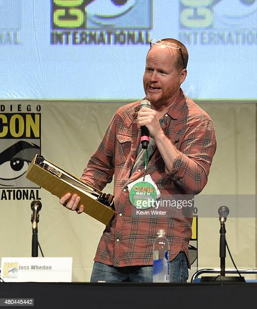 Joss Whedon accepts the Icon Award onstage at Dark Horse An Interview with Joss Whedon during ComicCon International 2015 at the San Diego Convention...