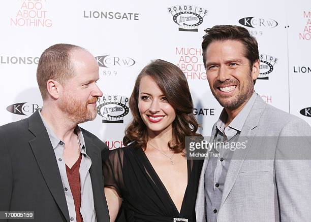 Joss Whedon Amy Acker and Alexis Denisof arrive at the Los Angeles screening of 'Much Ado About Nothing' held at Oscars Outdoors on June 5 2013 in...
