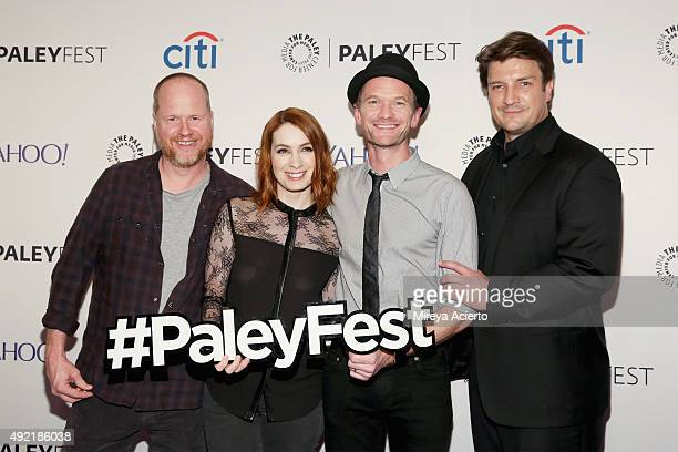 Joss Whedon Felicia Day Neil Patrick Harris and Nathan Fillion attend the 'Dr Horrible's SingAlong Blog Reunion' during the PaleyFest New York 2015...