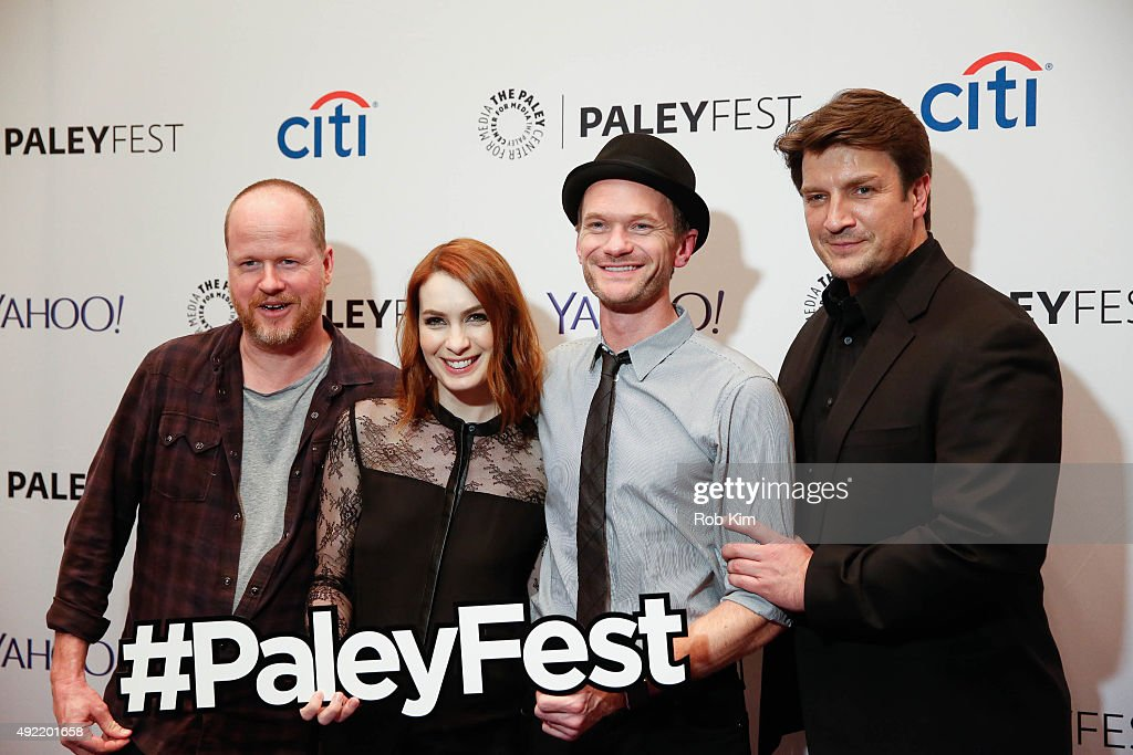 Joss Whedon Felicia Day Neil Patrick Harris and Nathan Fillion attend 'Dr Horrible's SingAlong Blog Reunion' during PaleyFest New York 2015 at The...