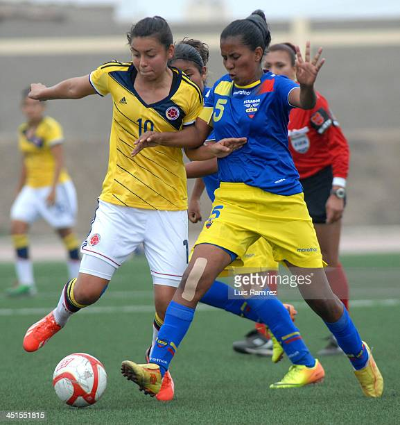 Josselin Valdez of Ecuador vies for the ball with Josselin Valdez of Colombia during a match between Ecuador and Colombia in semifinals Women's U20...