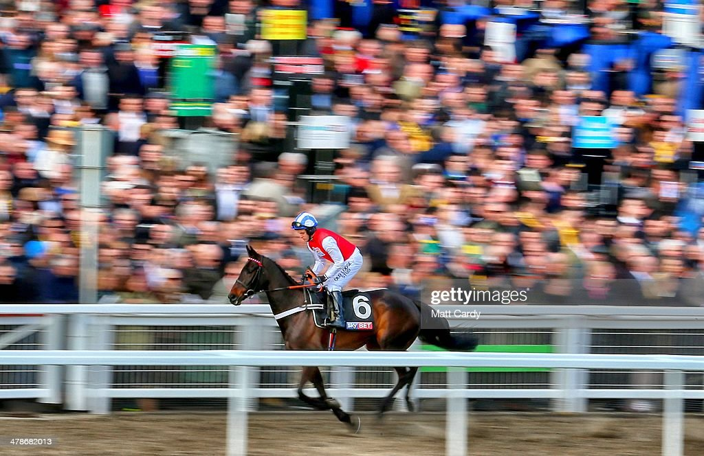 Josses Hill ridden by Andrew Tinkler passes the crowd on first day of the Cheltenham Festival on March 11, 2014 in Cheltenham, England. Thousands of racing enthusiasts are expected at the four-day festival, which starts today with the festival's Champion Day and is seen as many as the highlight of the jump racing calendar.