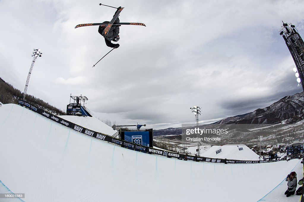 Jossi Wells of New Zealand skis during Men's Superpipe elimination at the X Games Aspen 2013 at Buttermilk January 24, 2013 in Aspen, Colorado.