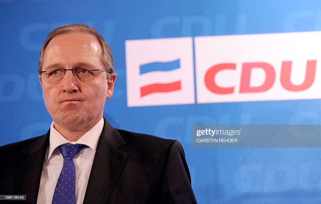 Jost de Jager, Chairman of the Schleswig-Holstein fraction of the German party CDU, gestures as he attends a press conference in Kiel, northern Germany on January 08, 2013. De Jager announced his demission from politics, citing lack of support within his own party, the CDU.