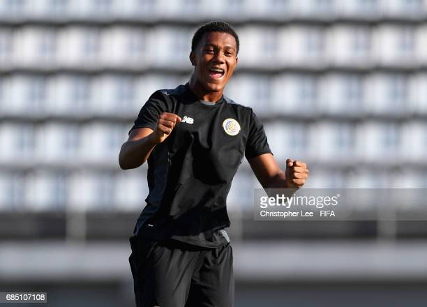 Jostin Daly of Costa Rica celebrates scoring a goal during a game during their training Session at Kang Chang Hak Stadium on May 19 2017 in Jeju...